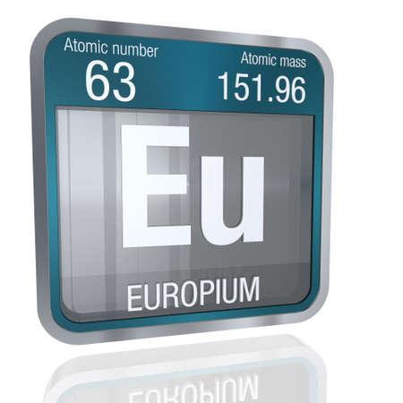Europium Symbol In Square Shape With Metallic Border And Transparent