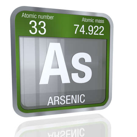 Arsenic Symbol In Square Shape With Metallic Border And Transparent