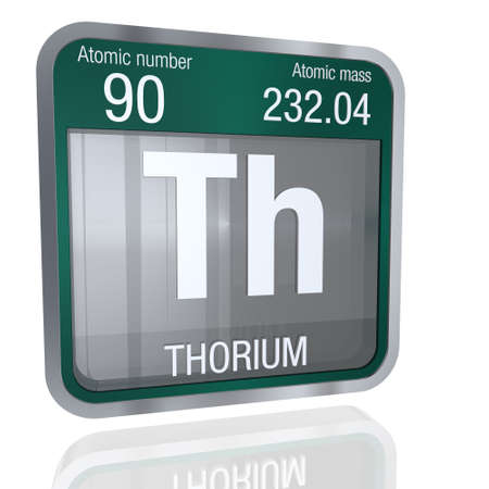 Thorium Symbol In Square Shape With Metallic Border And Transparent