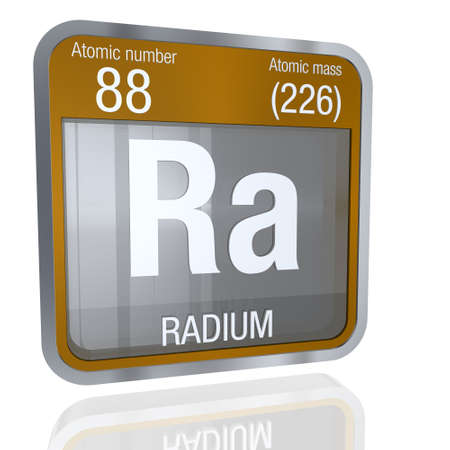 Radium symbol in square shape with metallic border and transparent background with reflection on the floor. 3D render Element number 88 of the Periodic Table of the Elements - Chemistry Stock Photo