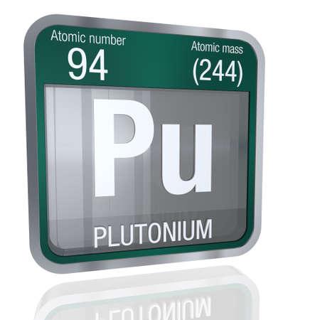 Plutonium Symbol In Square Shape With Metallic Border And