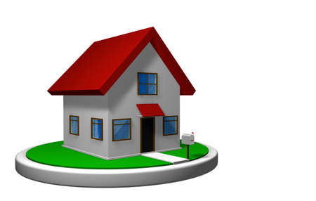 3D model of a small house with red roof on a white disk, with a mailbox in front. 3D render Banco de Imagens