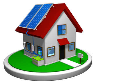 3D model of a small house with a solar energy system installed, with 4 solar panels on the red roof on a white disk, with a mailbox in the front. 3D render - Renewable Energy Imagens