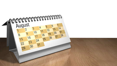 3D model of a August desktop calendar in white color on a wooden table on white background- 3D render Stock Photo