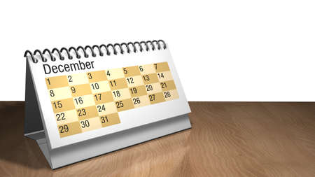 3D model of a December desktop calendar in white color on a wooden table on white background- 3D render
