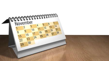 3D model of a November desktop calendar in white color on a wooden table on white background- 3D render