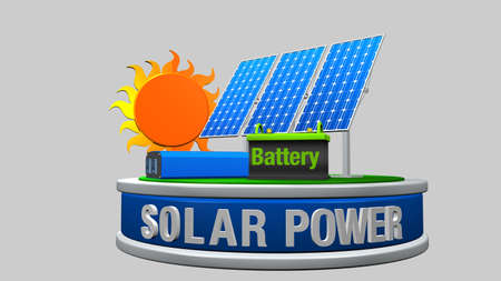 3D model of a solar energy equipment consisting of 3 solar panels, an inverter and a battery with the sun behind on a white background - Renewable Energy - 3D render Stock Photo