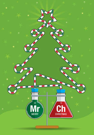 Two test tubes connected to form a Christmas tree illustration. Vettoriali