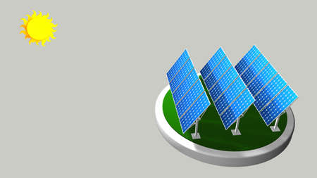 3D model of a group of solar panels following the path of the sun with white background - Renewable Energy - 3D render Stock Photo