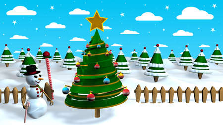 Christmas scene with a snow man next to an abstract Christmas tree decorated with colored spheres with a forest of trees in the background
