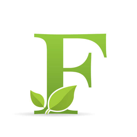 Logo with letter F of green color decorated with green leaves - Vector image Ilustração