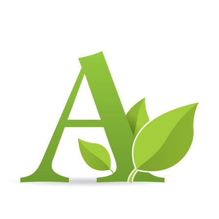 Logo with letter A of green color decorated with green leaves - Vector image Çizim