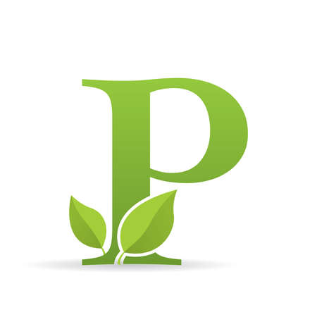 Logo with letter P of green color decorated with green leaves - Vector image