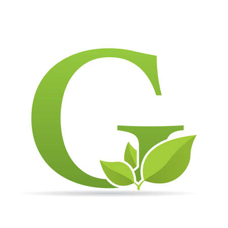 Logo with letter G of green color decorated with green leaves - Vector image