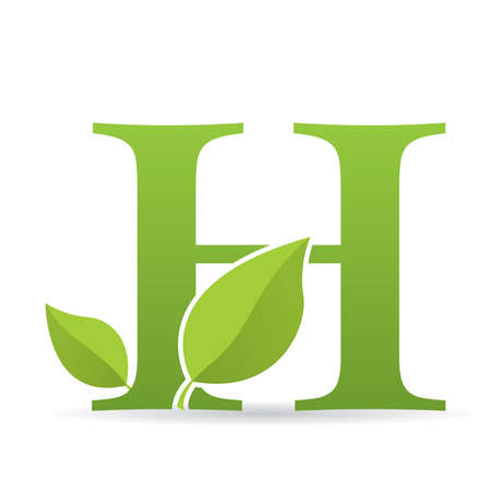 Logo with letter H of green color decorated with green leaves - Vector image Çizim