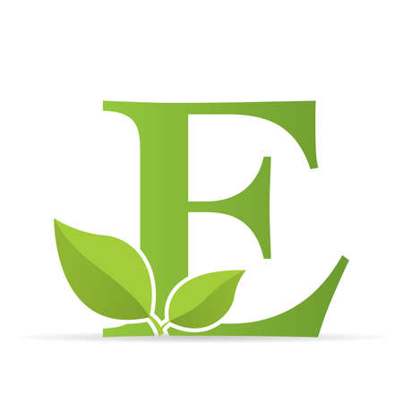Logo with letter E of green color decorated with green leaves - Vector image