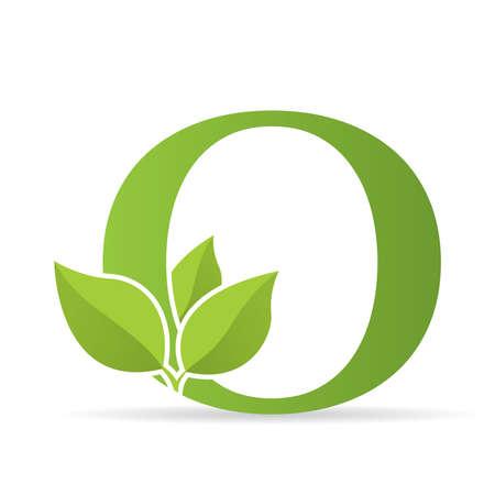Logo avec la lettre O de couleur verte ornée de feuilles vertes - image vectorielle
