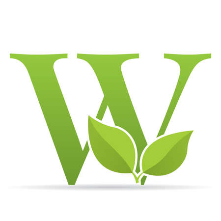 Logo with letter W of green color decorated with green leaves - Vector image