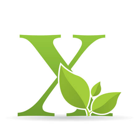 Logo with letter X of green color decorated with green leaves - Vector image Illustration