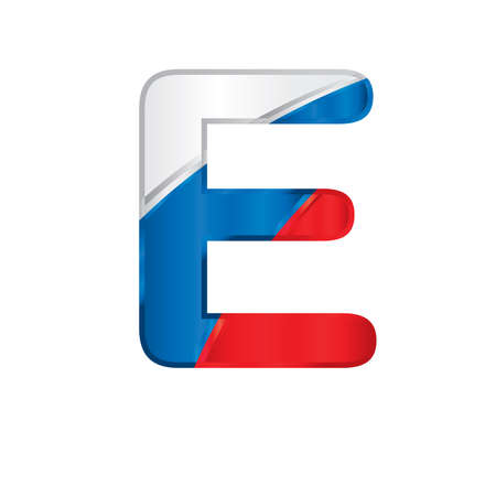 Letter E painted with the colors of the Russian flag, white, blue and red - vector image.