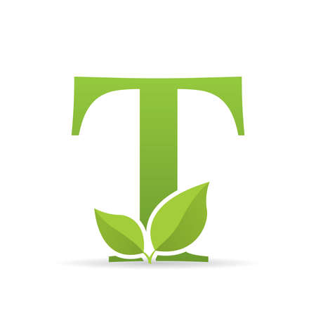 Logo with letter T of green color decorated with green leaves - Vector image