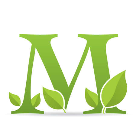 Logo with letter M of green color decorated with green leaves - Vector image