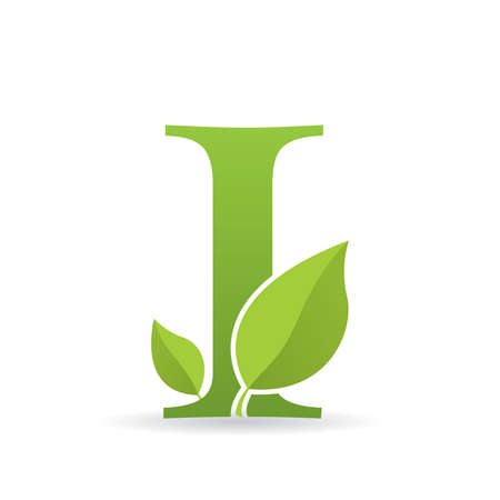 Logo with letter I of green color decorated with green leaves - Vector image