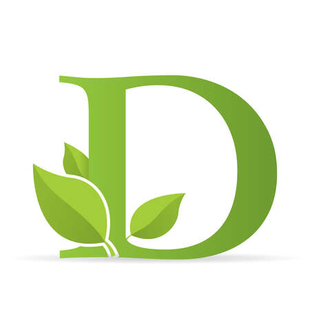 Logo with letter D of green color decorated with green leaves - Vector image Illustration
