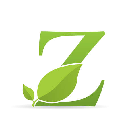 Logo with letter Z of green color decorated with green leaves - Vector image