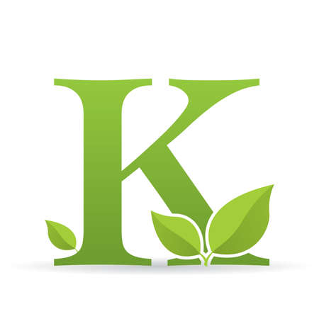 Logo with letter K of green color decorated with green leaves - Vector image