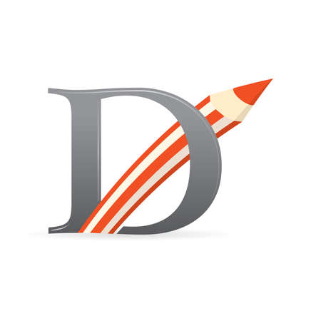 Logo with letter D of gray color combined with a pencil of red color - Vector image