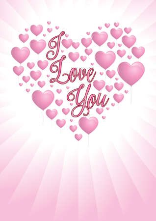 Message I love you with pink heart-shaped balloons floating on pink background with white light coming from behind the heart. The balloons are forming a heart. Vector image Illusztráció