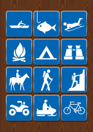 Set of icons of outdoor activities: rowing, fishing, campfire, camping, binoculars, horseback riding, hiking, climbing, motorcycle, cycling. Icons in blue color on wooden background. Vector image.