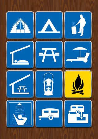 Set of icons of outdoor activities: tent, barbecue area, shelter, eating area, lantern, campfire, shower, trailer. Icons in blue color on wooden background. Vector image.