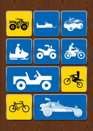 Set of icons of outdoor activities: cycling, motocross, 4x4 vehicle, snowmobile, sand vehicle. Icons in blue color on wooden background. Vector image. 向量圖像