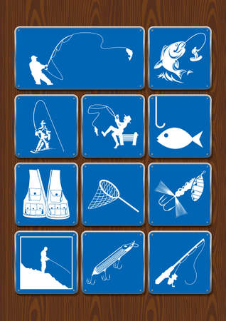Set of icons of outdoor activities: fishing, fisherman, fish, fishing rod, fishhook, net, vest. Icons in blue color on wooden background. Vector image.