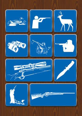 Set iconen van eenden, jager, hert, verrekijker, telescopisch zicht, geweer. Pictogrammen in blauwe kleur op houten achtergrond. Vector afbeelding.
