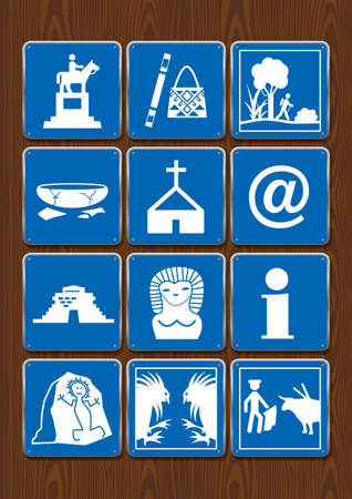 Set icons of monument, crafts, walk, archaeological ruins, church, internet, information, cockfight, bullfight. Icons in blue color on wooden background. Vector image. Illusztráció