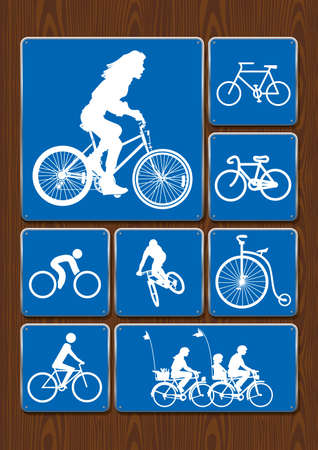 Outdoor activity icons set: woman on bicycle, cycling, family on walk, old bicycle. Icons in blue color on wooden background. Vector image.