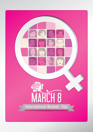 Design about International Womens Day with silhouettes of womens faces inside the symbol of woman, with a rose on the title on a pink background. Vector image