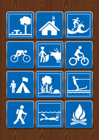 Set icons of shelter, park, bicycle, bullfight, diving, campfire, surfing. Icons in blue color on wooden background. Vector image.