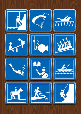 Set icons paragliding, diving, hippodrome, playground, horseback riding, rafting, hiking. Icons in blue color on wooden background. Vector image. Stock Illustratie
