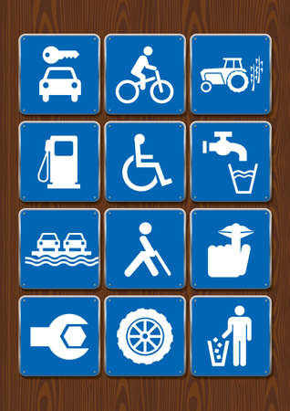 Set icons of car rental, bicycle, tractor, gas station, wheelchair, drinking water, barge, blind person, silence, mechanic, garbage Icons in blue color on wooden background. Vector image.