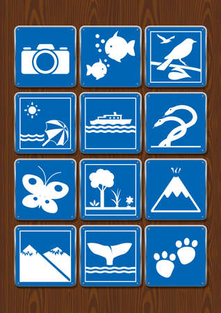 Set icons of photography, aquarium, bird watching, beach, navigable river, serpentarium, butterfly garden, forest, volcano, whale watching, zoo. Icons in blue color on wooden background. Vector image. Ilustração