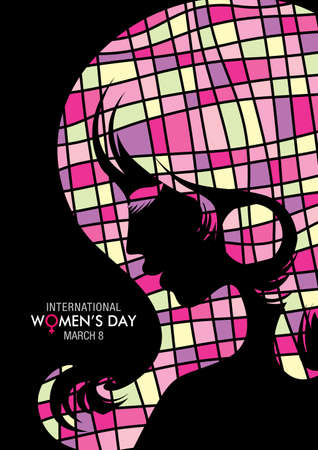 Design about International Womens Day with a drawing of a womans face with squares texture on black background.