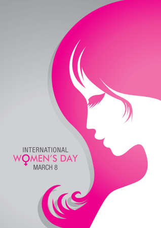 Design about International Women's Day with a drawing of a woman face with pink hair on gray background.