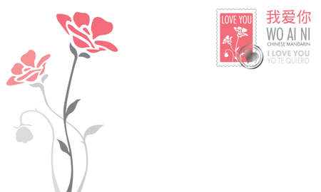 Postcard with the phrase I LOVE YOU in English, Spanish and Chinese Mandarin adorned with pink stamp and flowers in pink and gray in the background. Vector image