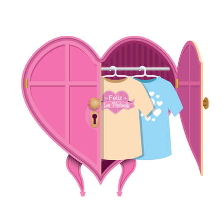 Pink heart-shaped clothes closet with an open door, inside there are two shirts with the message: Happy Valentines Day - Happy Valentines Day in Spanish language - Vector image