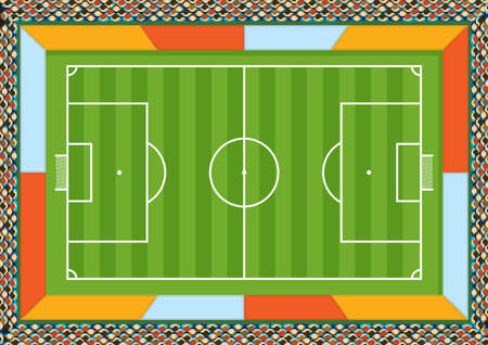 Aerial view of a soccer field drawn with white line on a green background with spaces for advertising around the court and spectators filling the stadium. Vector image