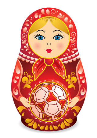 Drawing of a Matryoshka in red and yellow holding a soccer ball in her hands. Matryoshka doll also known as a Russian nesting doll, Stacking dolls, or Russian doll, is a set of wooden dolls of decreasing size placed one inside another.
